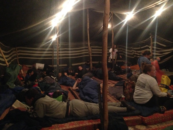 Spending the night with the group in the traditional Bedouin Tent.