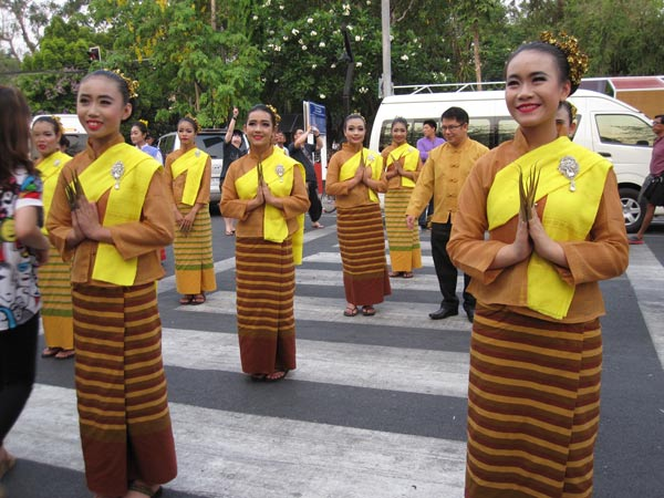 Girls dressed in traditional garments for Thai new year celebrations.