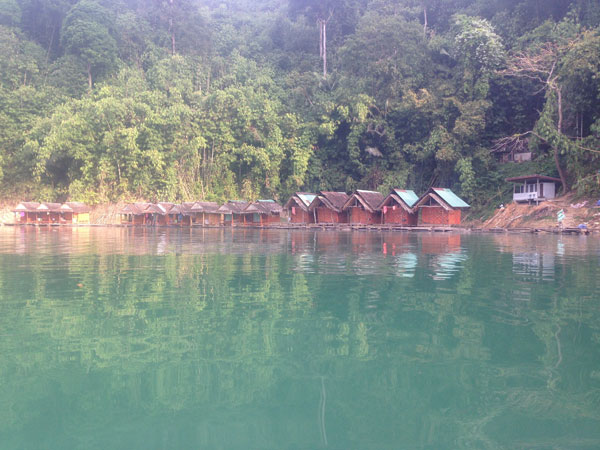 Floating bungalows in Khao Sok.