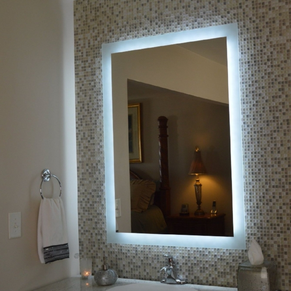 LED lighting around mirror.