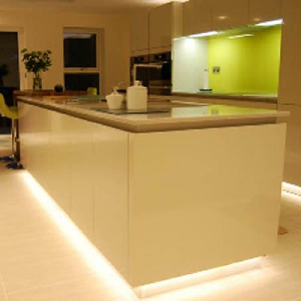 The LED lighting at the bottom of the cabinets is accent lighting, dramatic, and works well here.