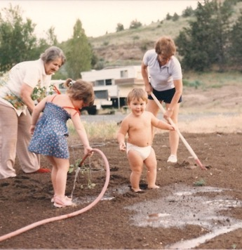 Out in the garden, circa 1985