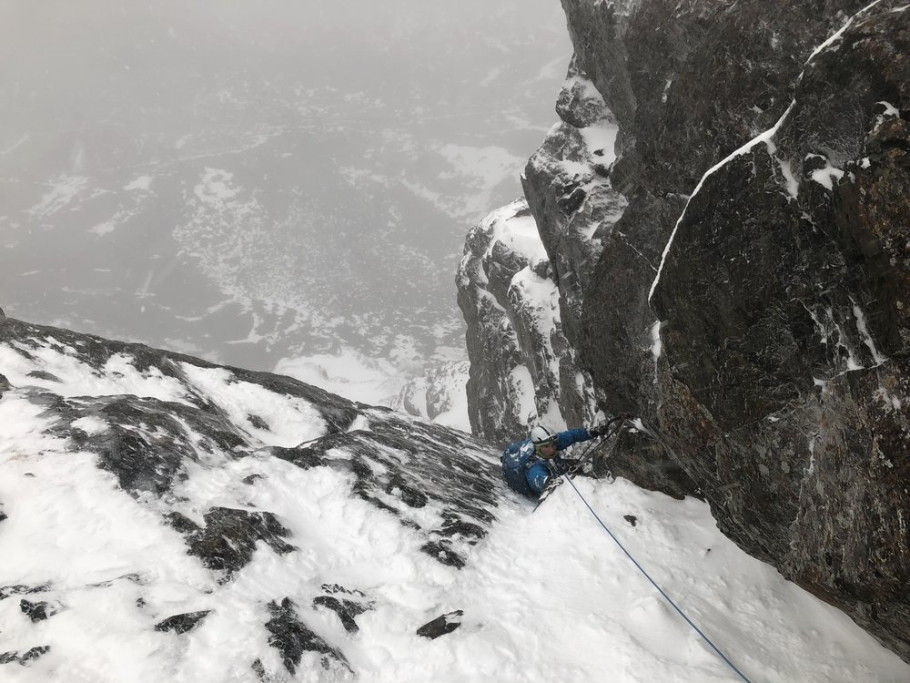 Alan finishing up the last pitch, mixed climbing in full spindrift.