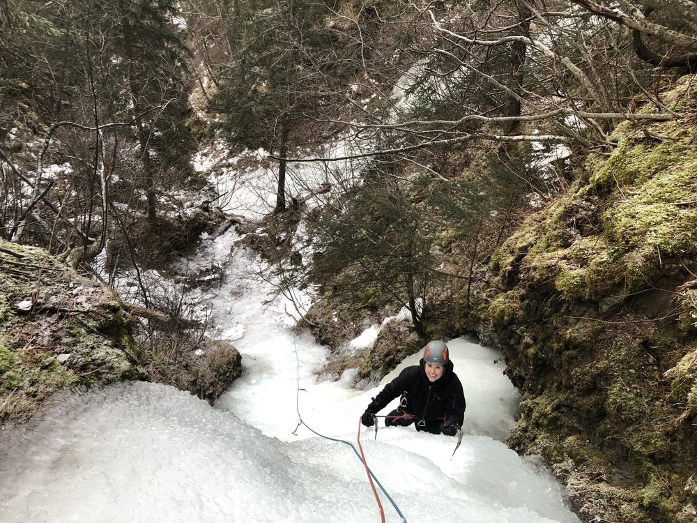 Local ice climbing on the Beer climbs.