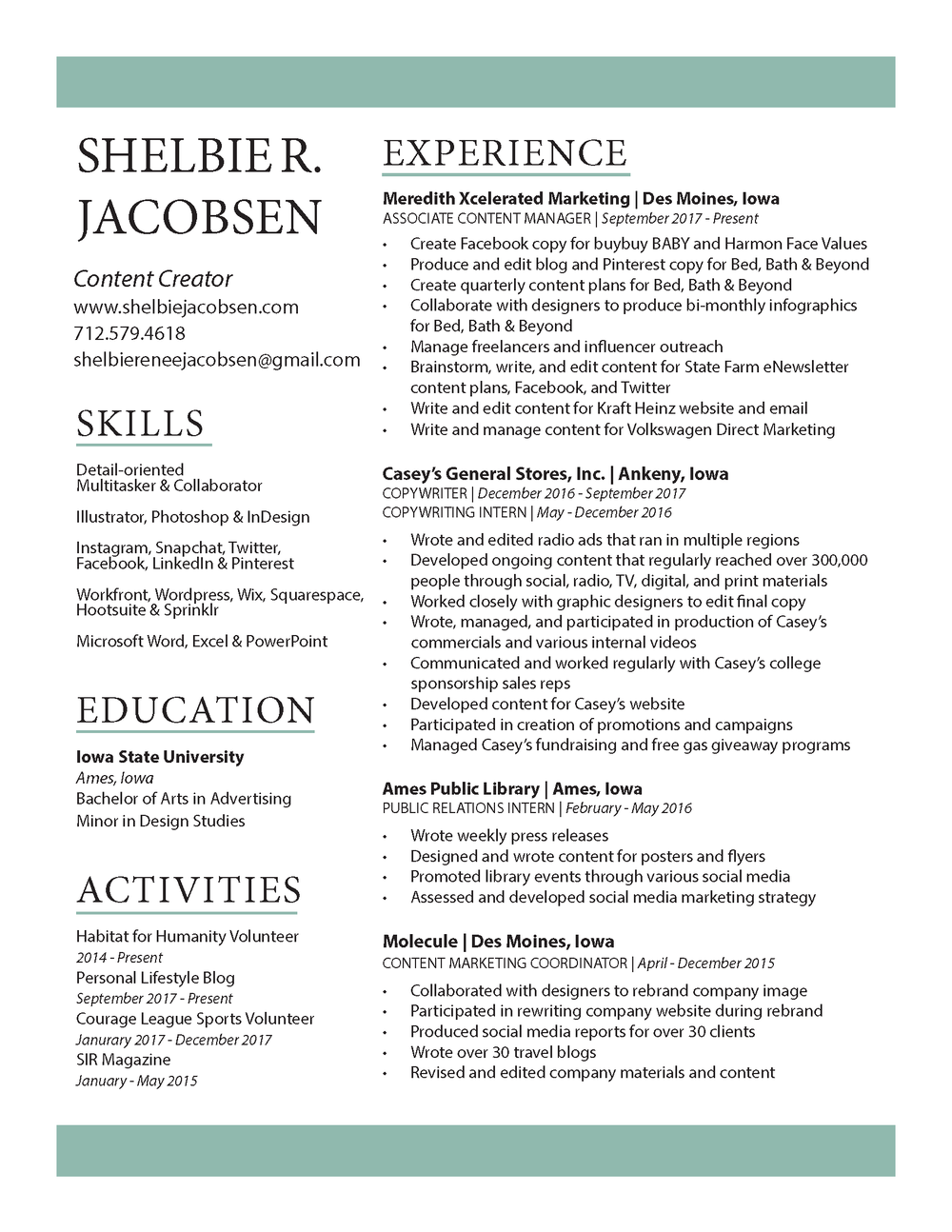 Resume Shelbie Jacobsen