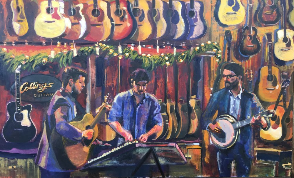 Gentle on my Mind , 2016 3' x 5' oil on canvas  Sold… for a Martin guitar