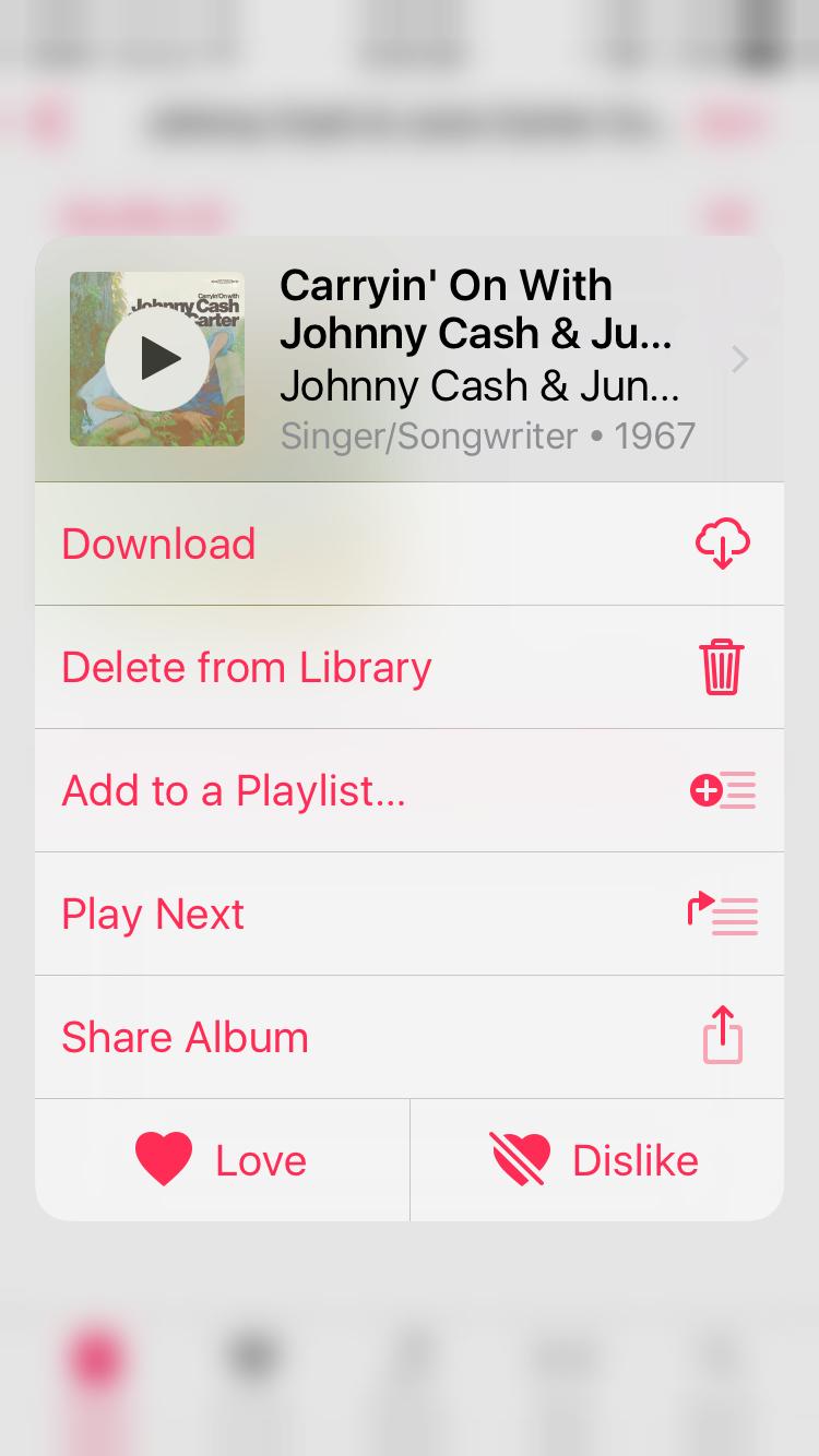 iOS Music (contextual menu)
