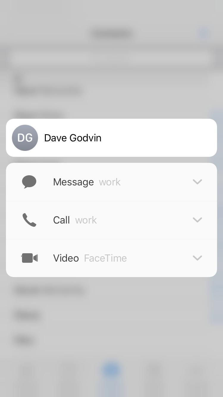 iOS Contacts (contextual menu)