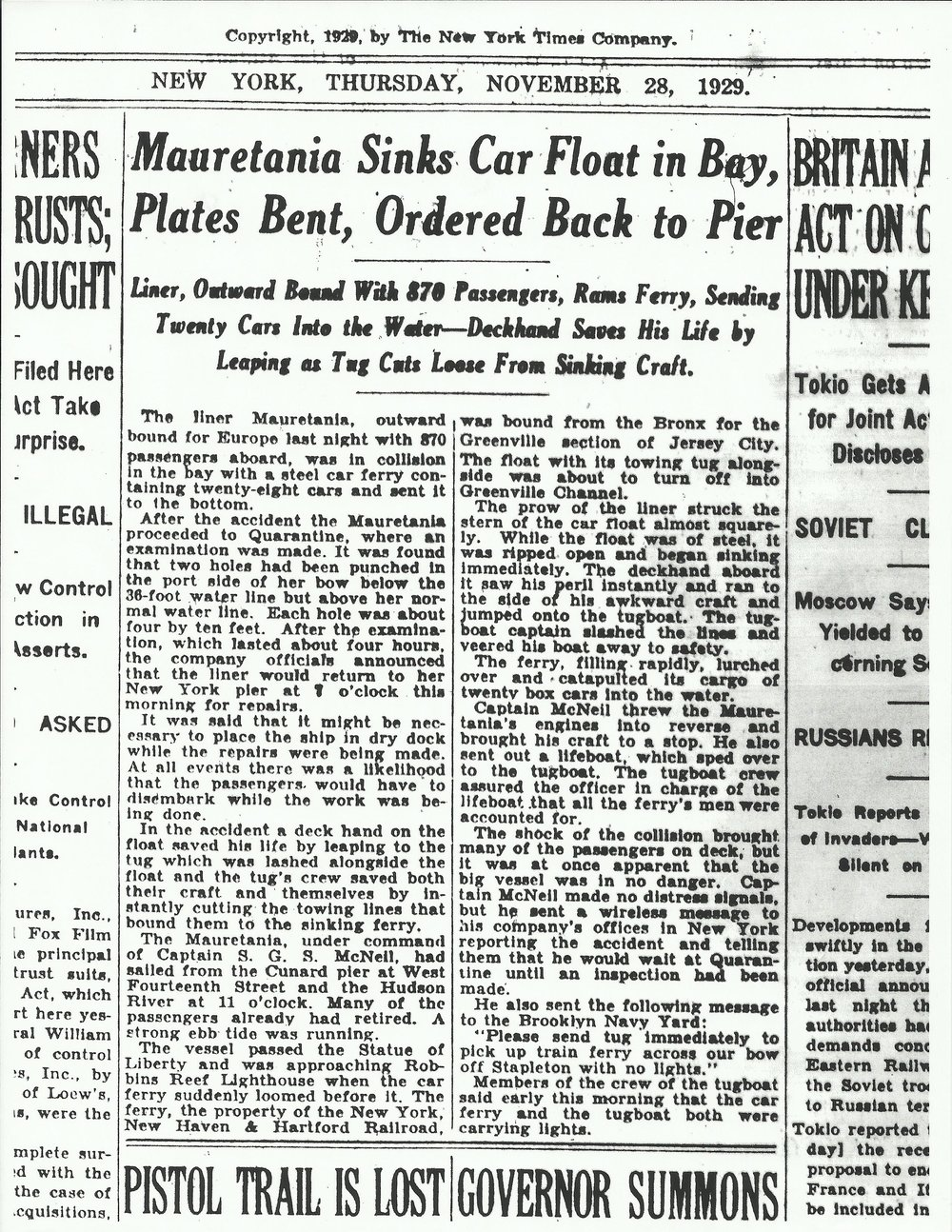 The report in the New York Times of the collision that turned Dr. Fullerton's ship back to port.