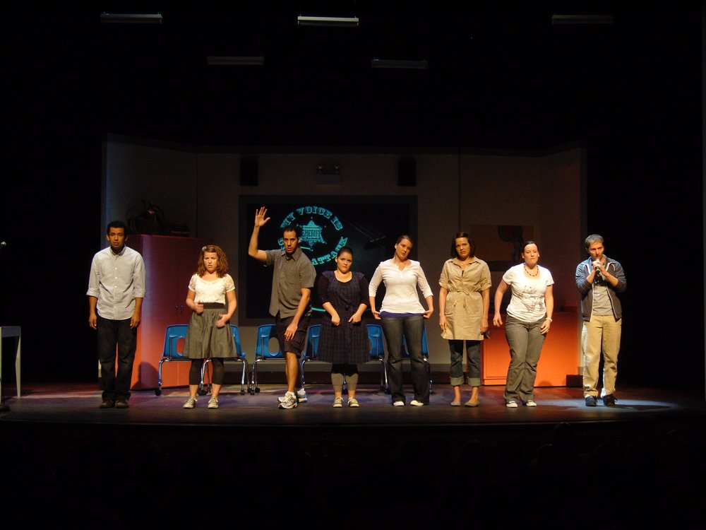 Original Cast and Co-Writers of Life in the Middle: (From Left) Ghafir Akbar, Kirstin Franklin, Peter Mendez, Alexandra Guyer, Nissa Perrot, Sarah Gavitt and Kevin Stanfa