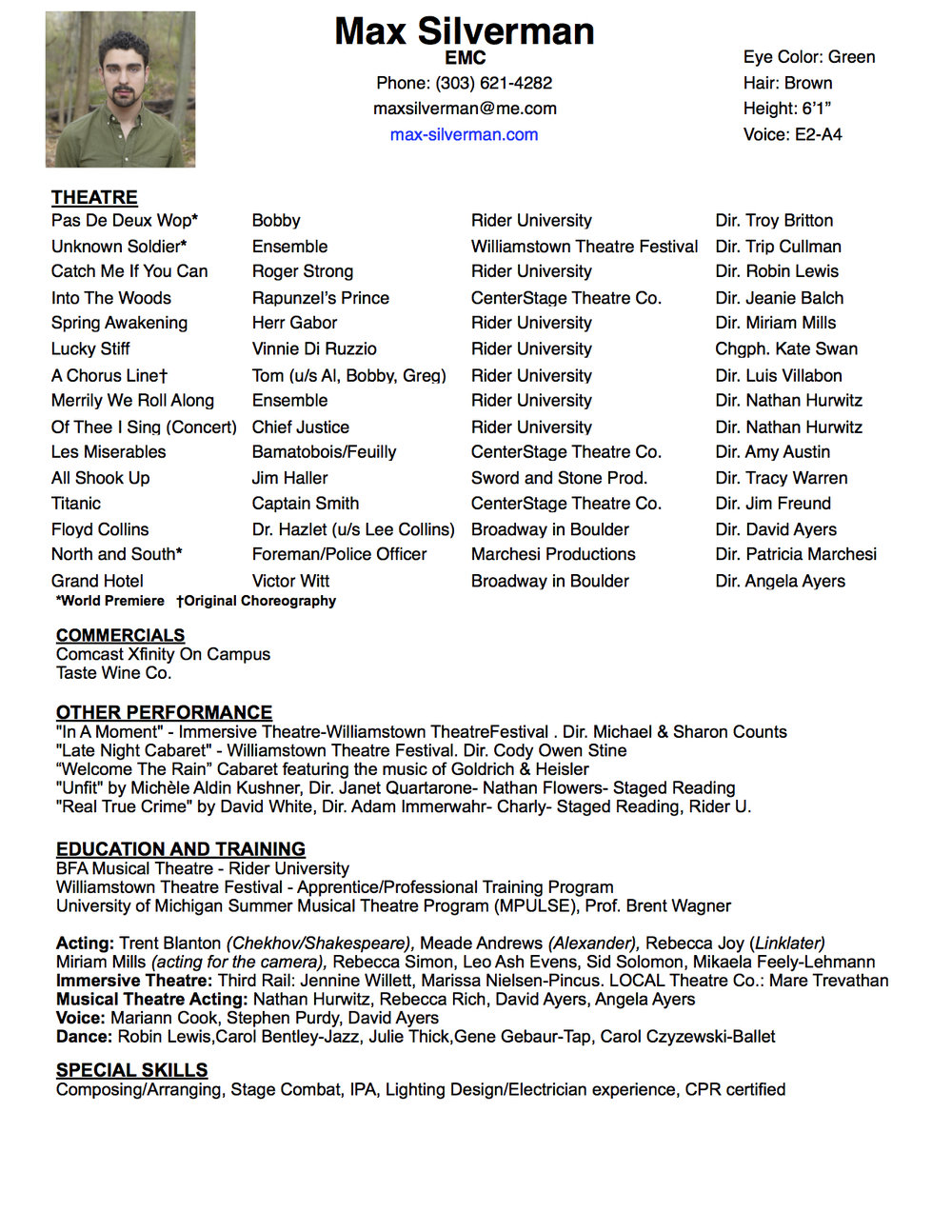Max Silverman  Performance Resume