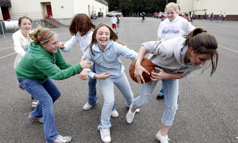 Even girls like rough play! Look again, everyone's happy!