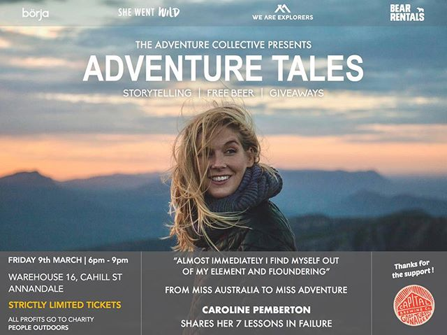 Knew it - almost sold out - in less than a day. If you're thinking about coming, then think quick. . STOKED to welcome @carolinepemberton to Adventure Tales 6 .. She'll be talking about her wrestles with fear & failure as she continues to take on some amazingly challenging bucket-list style adventures. . We bring these awesome and inspirational nights together with @we_are_explorers @shewentwild_ @bearrentals @weareborja  and thanks again to our buddies at @capitalbrewing for supplying the free suds 🤙🏽 . . 📸@thatchertime .  LINK IN BIO FOR TICKETS