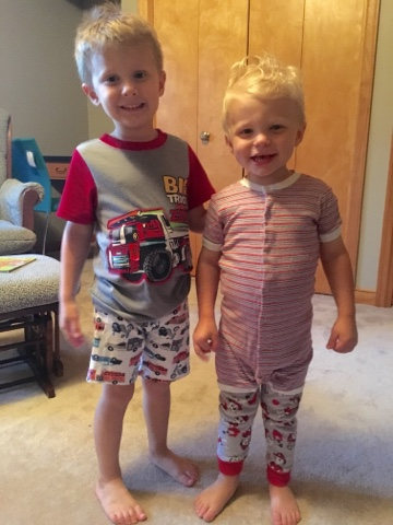 I forgot to add one exciting detail to the day: the boys both picked out their own pjs.  Matching was obviously frowned upon.