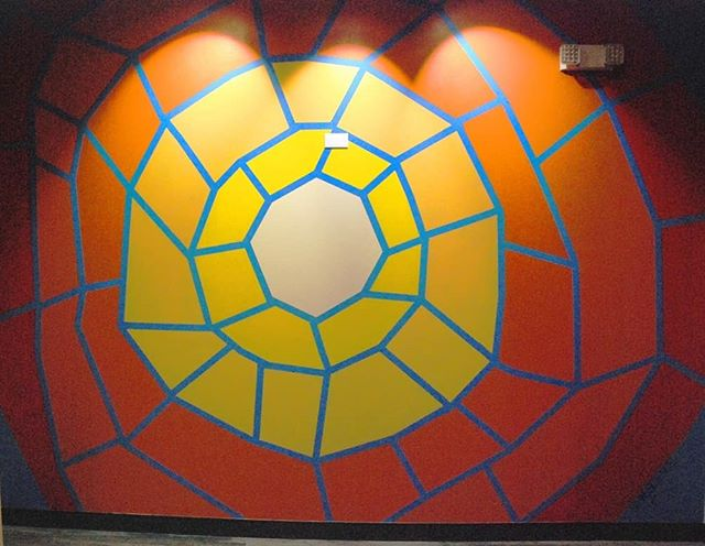 I call this mural fractured sun. It is located on the 7th floor of one of the tallest buildings in Lakewood. Conceptulized at 4 in the morning and completely painted by 9 pm the same day. I included the alternate comps I created for the client in the swipe.  #art #artonistagram #artgram #murals #muralist #mural #muralpainting #muralart #muralideas #acrylic #acylicpainting #paintpaintpaint #modernart #abstractart #abstract #paint #painting #comps #designprocess #design #sunart #sunshine #sunshineart #linescience