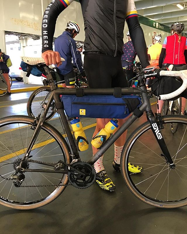 A custom-made frame bag took its maiden voyage on the Seattle Rapha Transfer Ride. #rapharides #packlighttravelfar