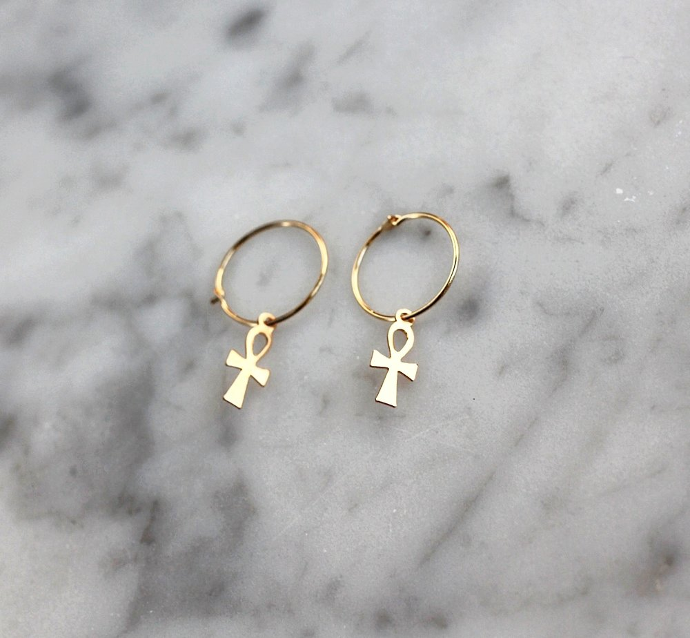 New Arrival: 14K Ankh Cross Hoops