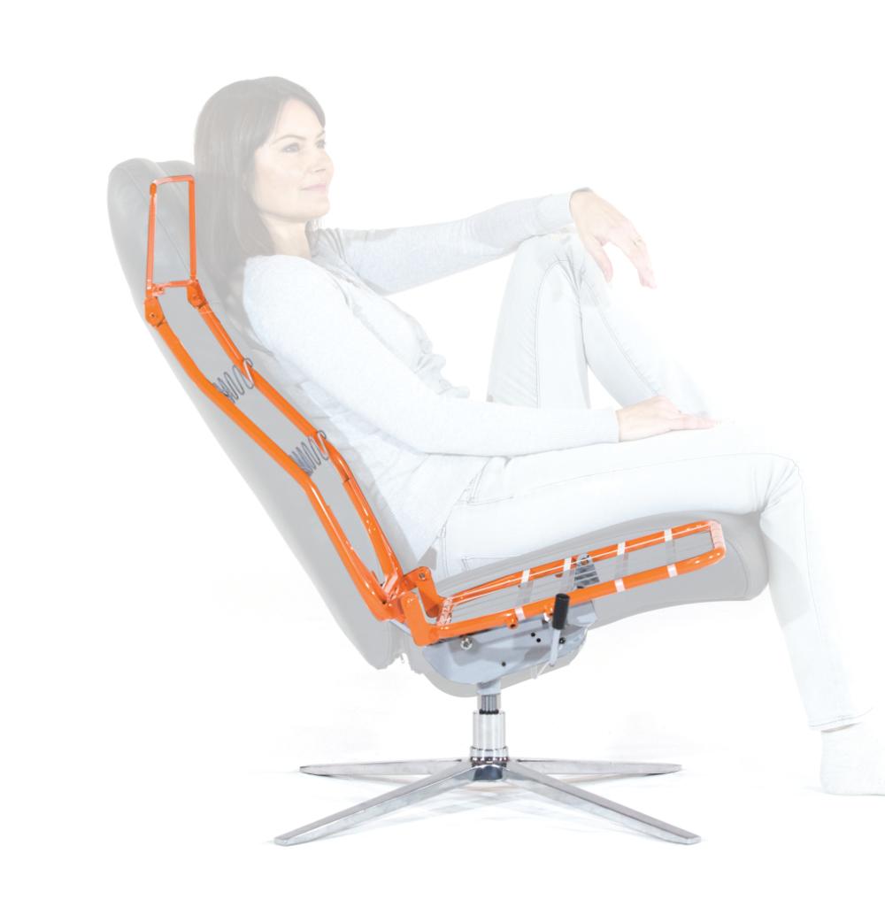 MK 5 fra Sykkylven Stål er den bærende konstruksjonen i møbelet, samtidig som det ivaretar alle bevegelser og sittestillinger.