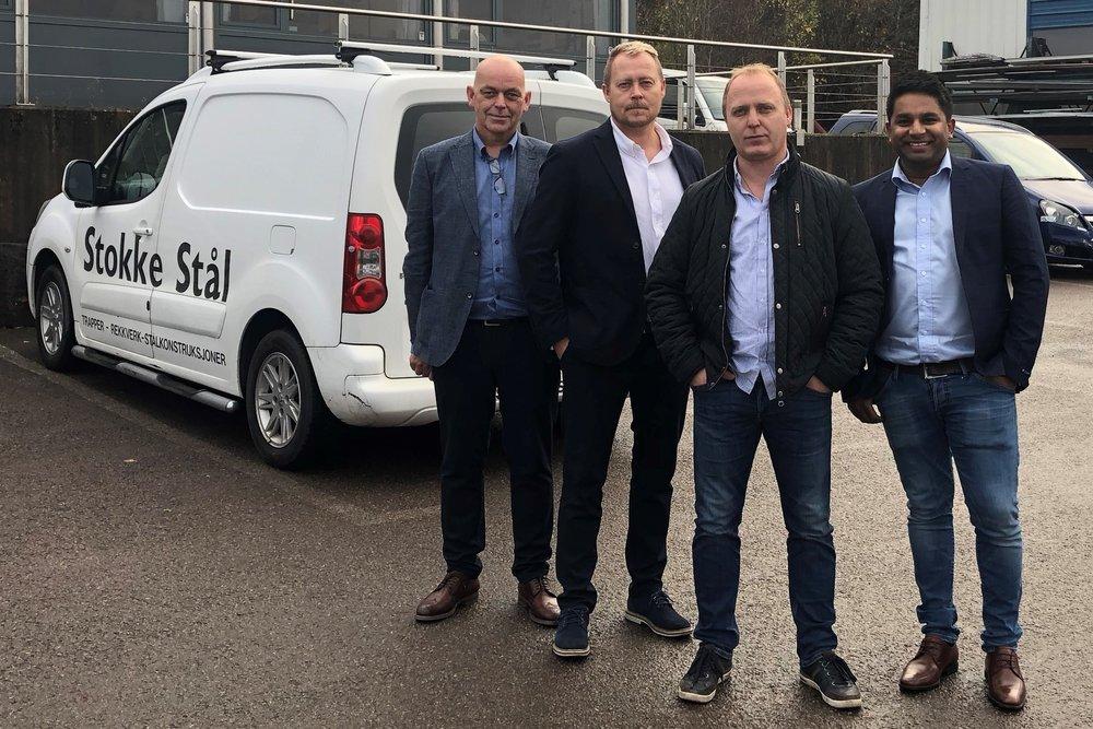 Eierne av PCS Holding. Fra venstre: Torgeir Giske (styreleder og prosjektleder), Jøran Gjelsten Lufall (daglig leder PCS Holding AS og PCS Construction AS), Frank Lufall (driftssjef Stokke stål AS) og Ryno Yaseen (daglig leder i PCS Personell AS).
