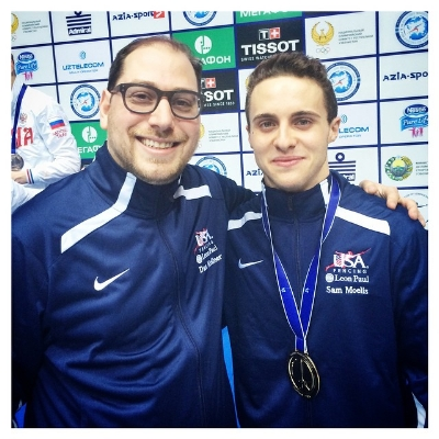Dan Kellner with Sam Moelis winning the Budapest junior men's foil World Cup in Budapest 2016