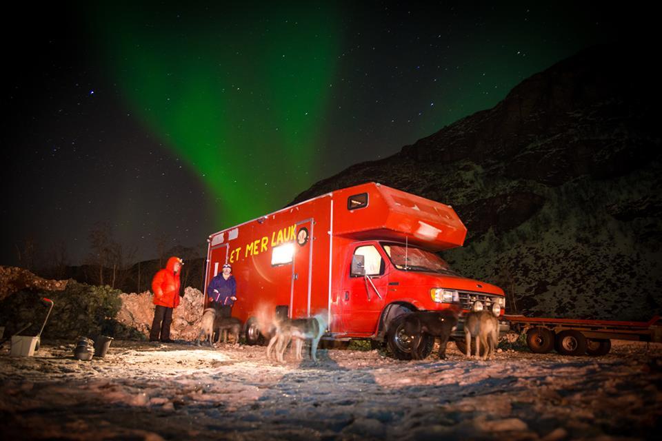 Fjestad's famous red RV. Photo: Ingri Fjestad.