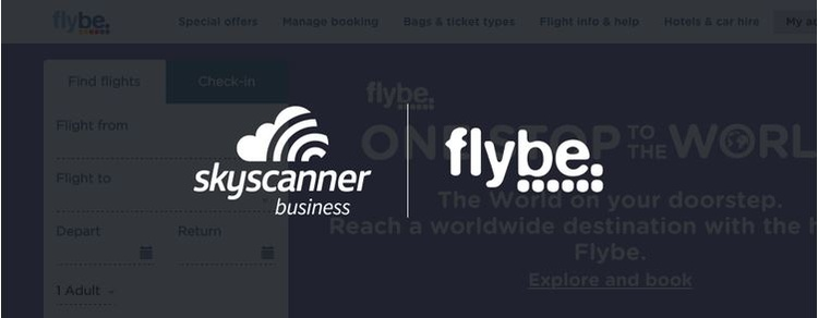Skyscanner for Business and Flybe logos