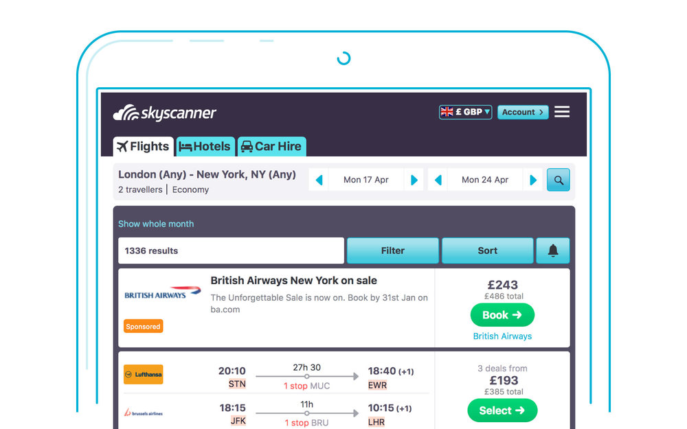 Advertising tailored for you with Skyscanner