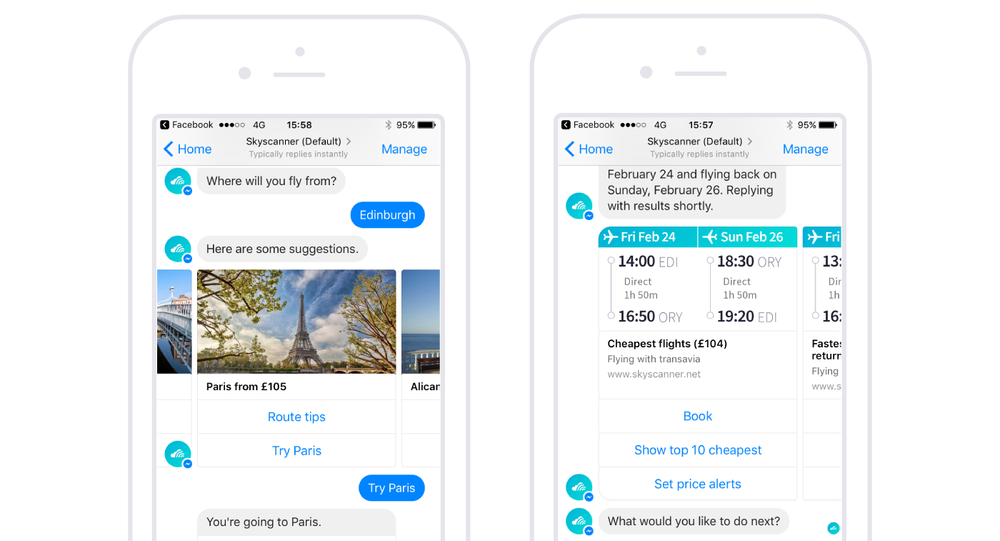 Skyscanner's Bot on Facebook Messenger