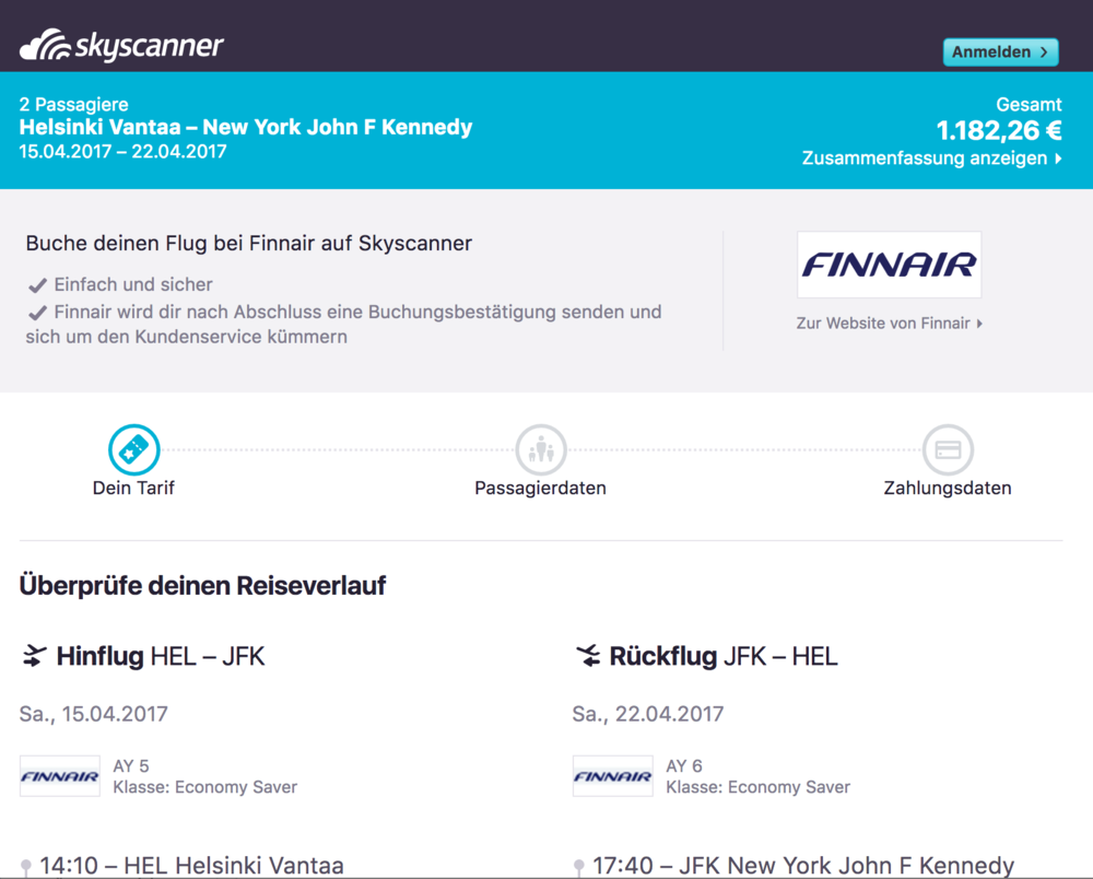 Finnair direct booking within Skyscanner