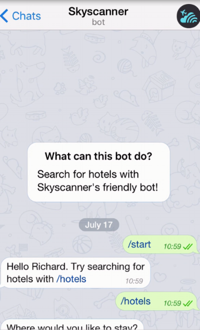 Skyscanner's Telegram bot in action
