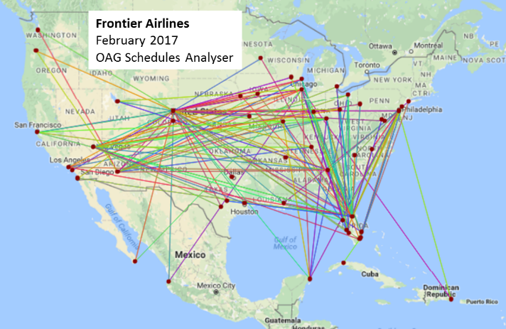 Frontier Airlines February 2017 OAG Schedules Analyser