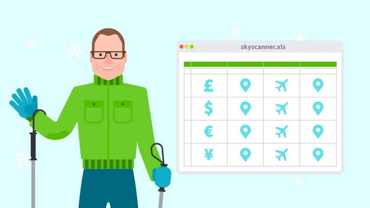 Skyscanner on Excel spreadsheet