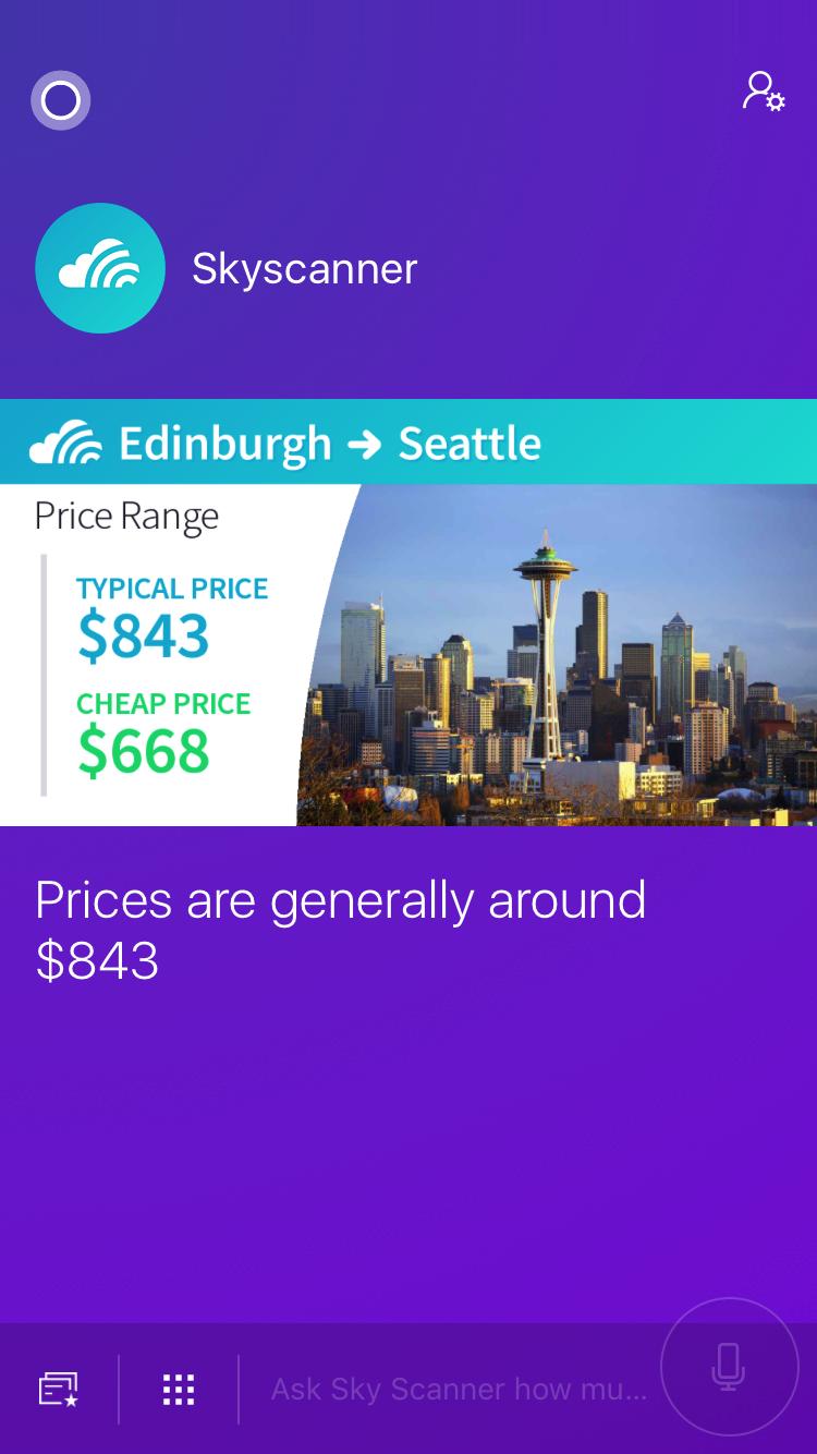Skyscanner on Cortana Booking Screenshot