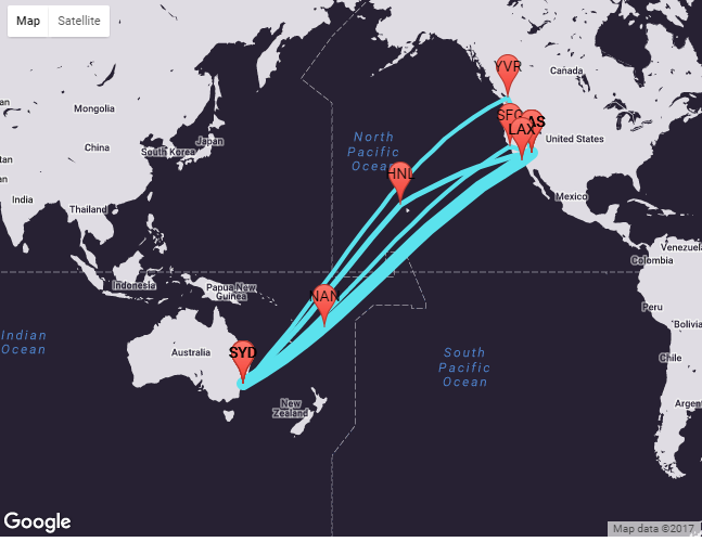 Source: Travel Insight Connections Maps visually plots how people get from Las Vegas to Singapore and Sydney and where they might stop over on the way. Airline planners need to know the stop overs to think about ways to improve the route offering.