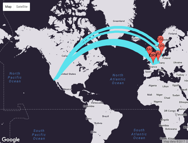 Source: Travel Insight Connections Maps visually plots how people get from Las Vegas to Paris and where they might stop over on the way. Airline planners need to know the stop overs to think about ways to improve the route offering.