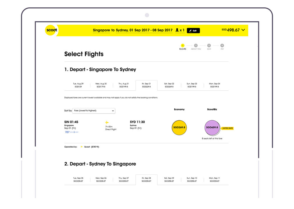 Booking page on  Scoot.com
