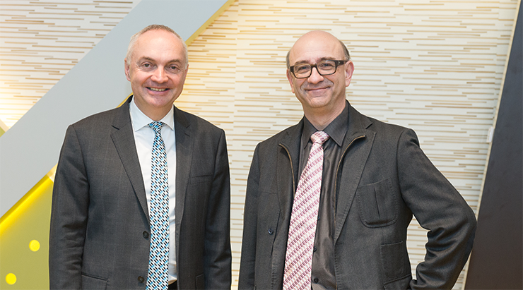Luc Van den hove (president & CEO van imec)& Danny Goderis (executive vice-president imec en voormalig CEO van iMinds)