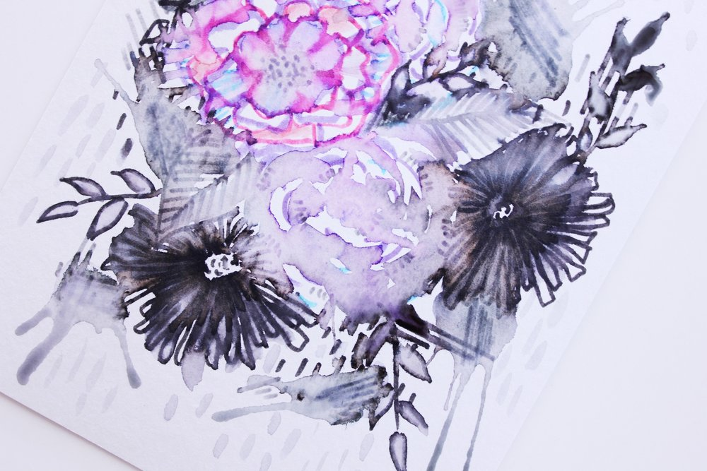Creating watercolor looking illustration with only felt tip pens and water. Tutorial and a few tips!