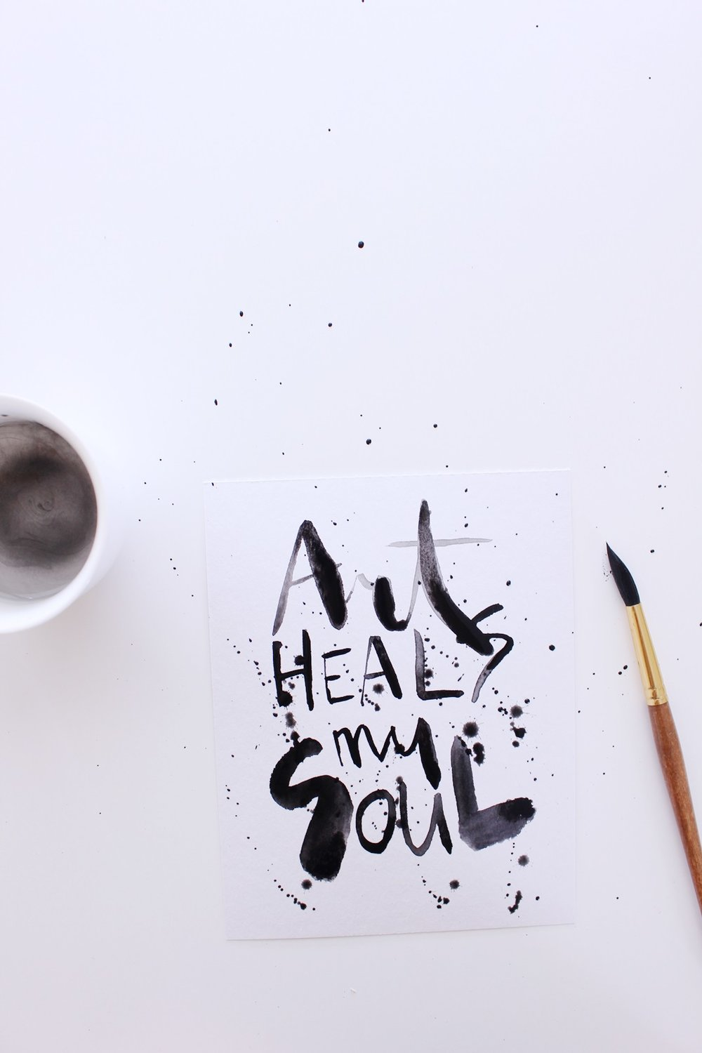 """Art heals my soul"" Calligraphy illustration by Laura Bei. Full tutorial on this artwork!"