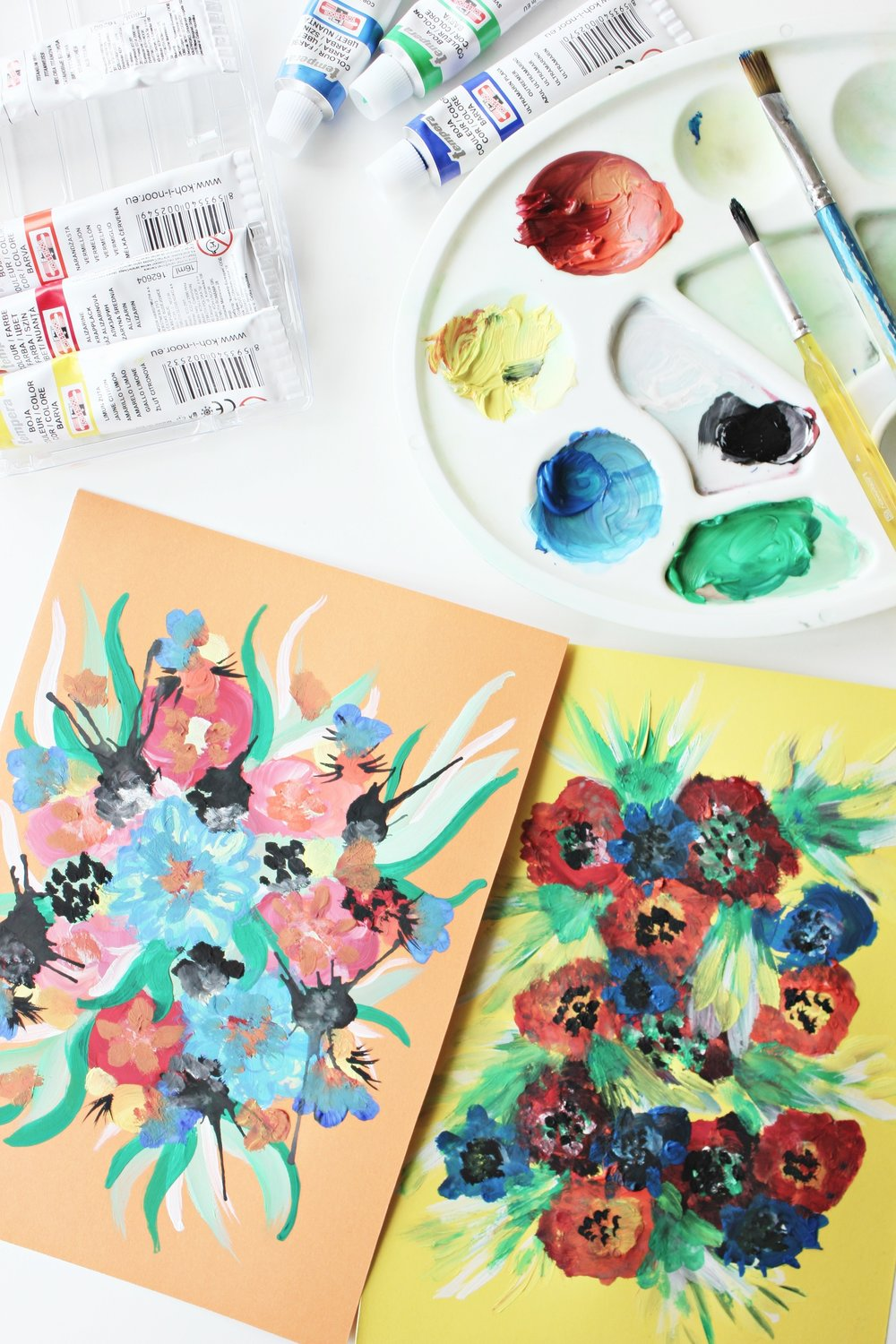 Flower painting process using tempera paints