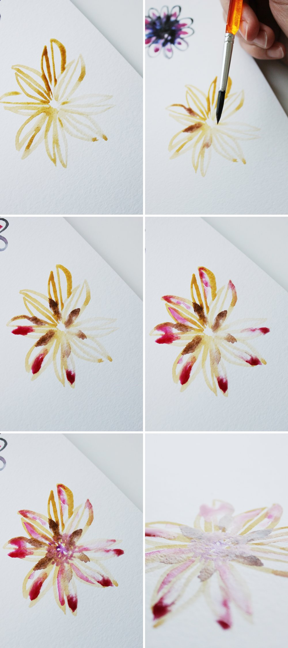 Dreamy watercolor flower tutorial