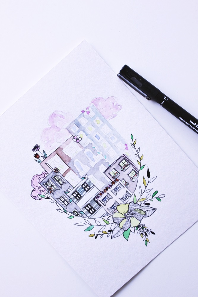 Process of drawing a post card. Using watercolors paints and pens.
