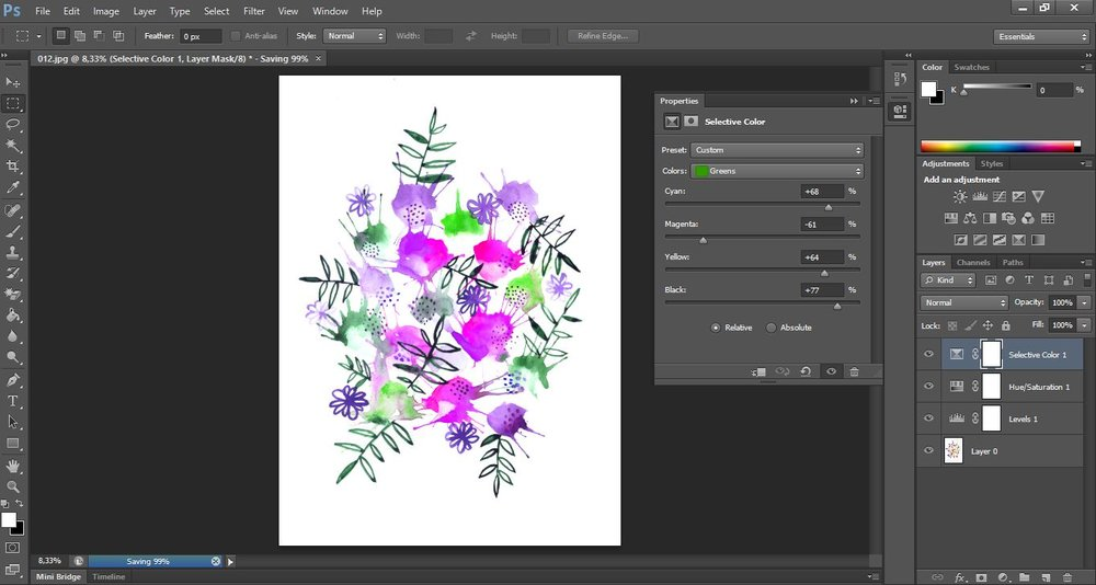 Flower bouquet illustration by Laura Bei. Changing colors of the image using photoshop.