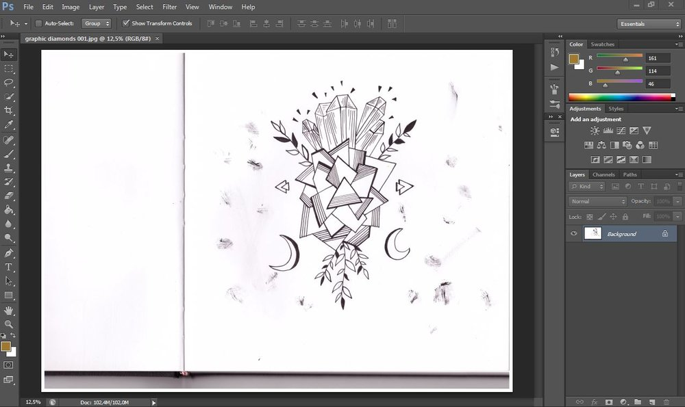 Learn how to use photoshop! Easy way to remove image background and take care of your scanned artwork.