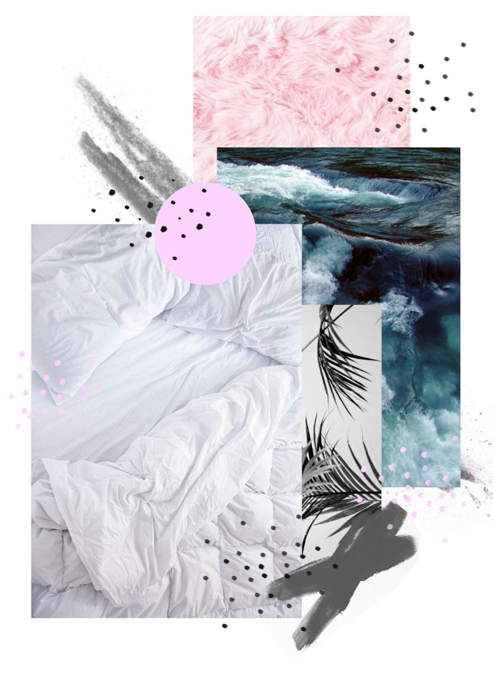 Illustrations by Laura Bei. Creating digital collage. Brand mood board.
