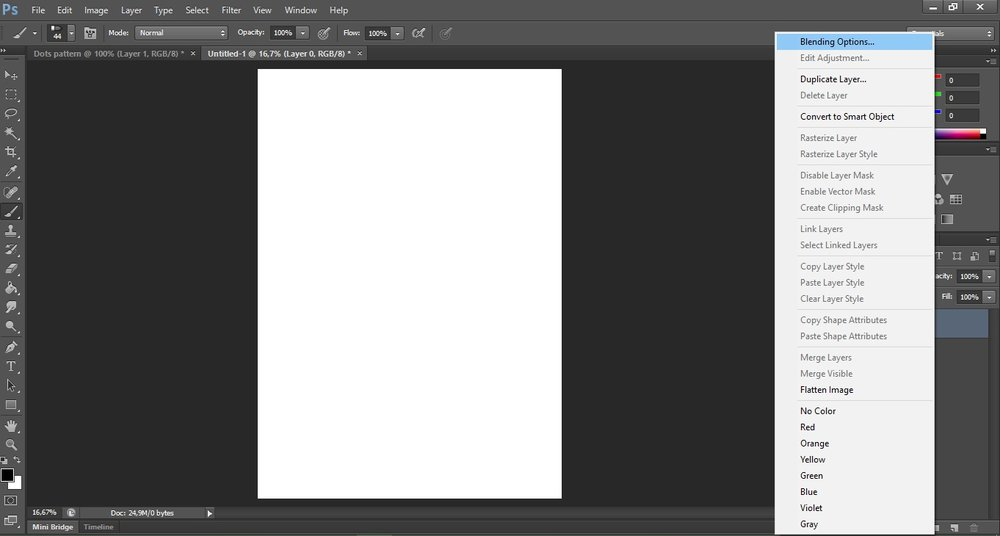 10. Right click the layer>Blending options