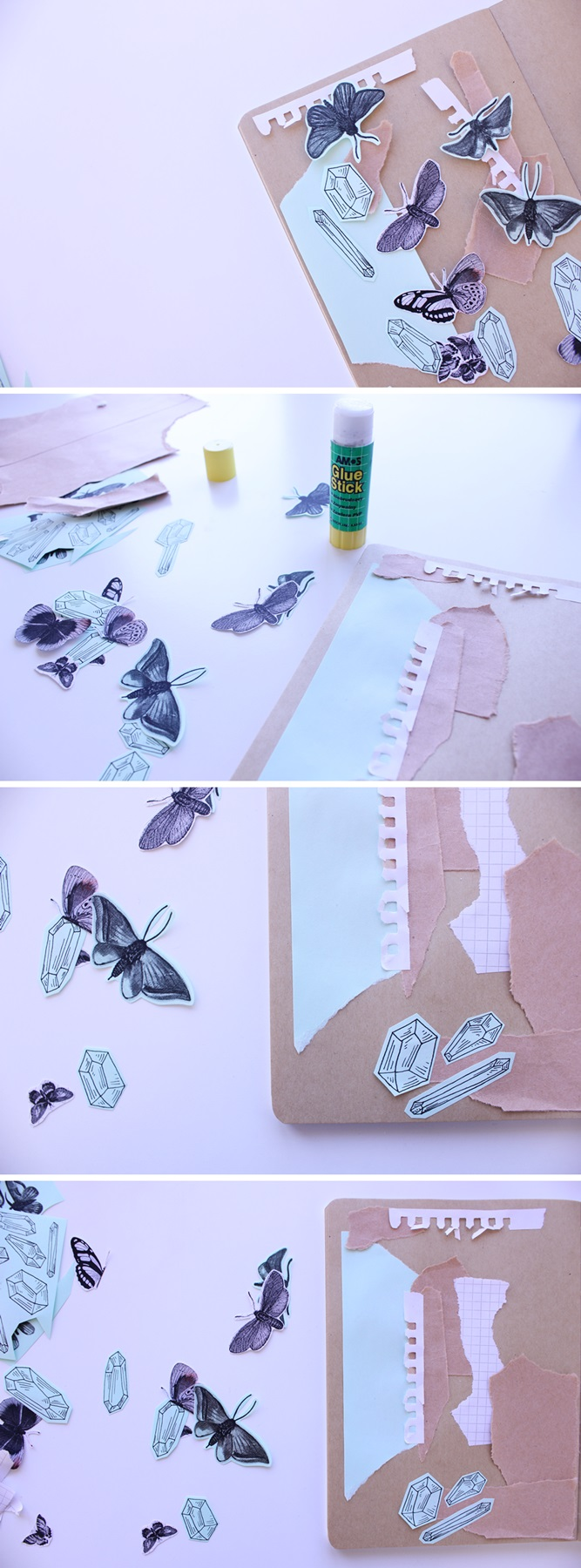 Creative activities. Making collage and printing on colored paper.