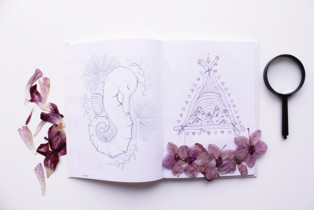 Sketchbook entries by Laura Bei