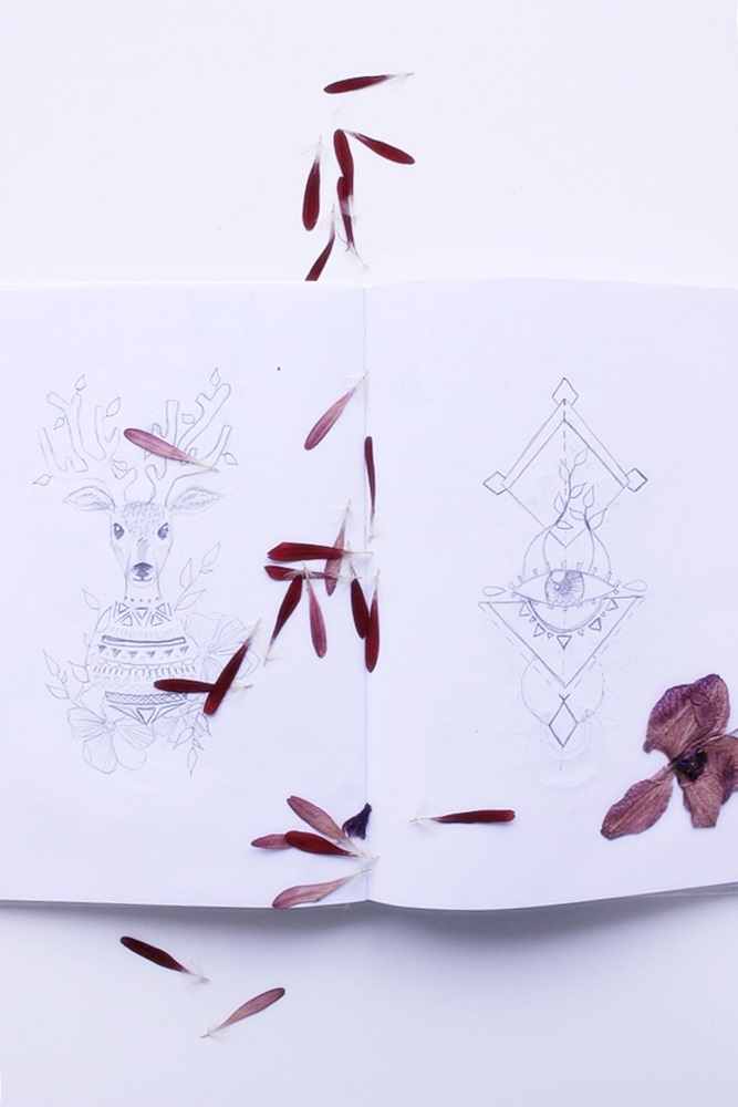 Mystical sketchbook entries & dried flowers by Laura Bei