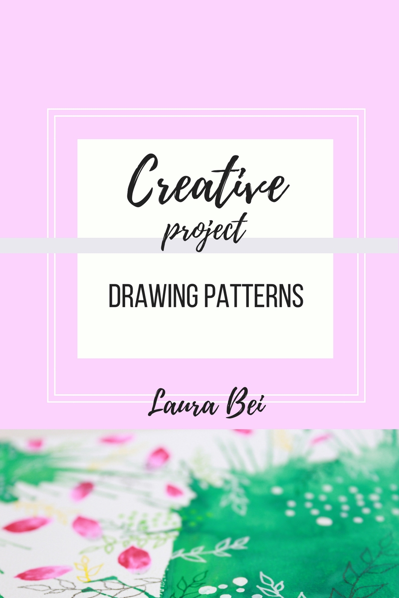 Drawing a simple pattern on colored background. Use old scraps of paper and create new artworks!